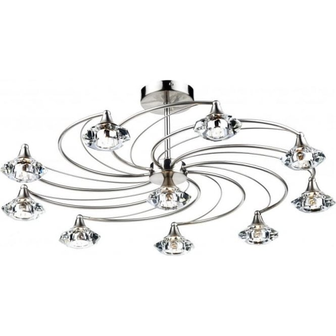 Dar Lighting Luther 10 Light Semi-Flush Ceiling Fitting in a Satin Chrome Finish