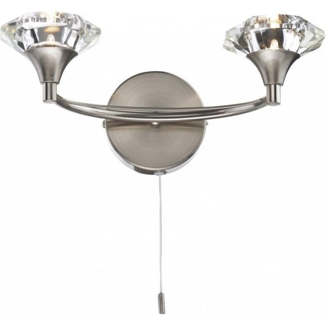 Dar Lighting Luther 2 Light Switched Wall Fitting in a Satin Chrome Finish