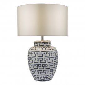 Lycett Single Light Ceramic Table Lamp Base In White And Blue Finish