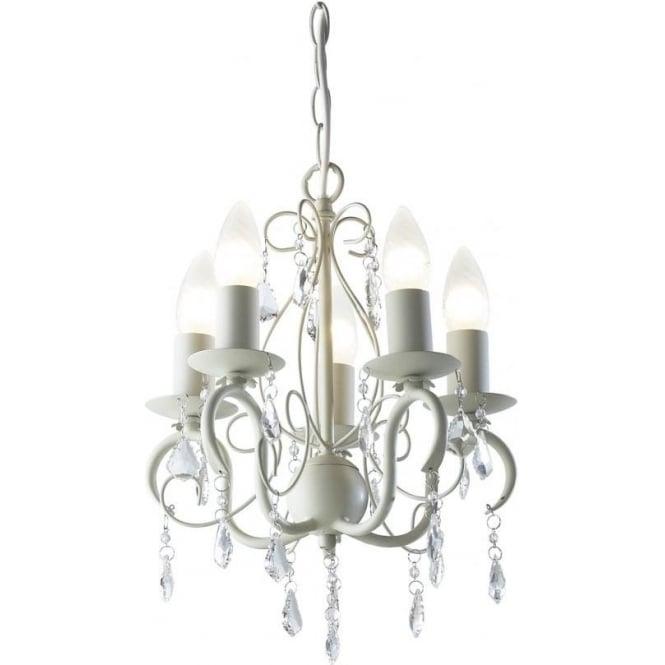 Dar lighting lydia 5 light chandelier fitting in cream finish with lydia 5 light chandelier fitting in cream finish with clear glass droplets mozeypictures Gallery