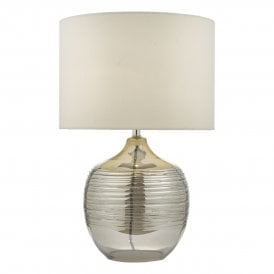 Lylah Single Light Table Lamp With Mirrored Glass Base And Ivory Faux Silk Shade