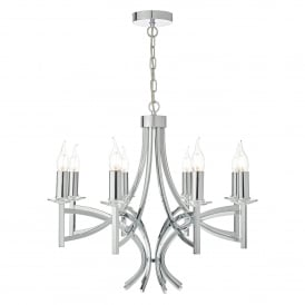 Lyon 8 Light Multi-Arm Ceiling Chandelier in Polished Chrome Finish with Crystal