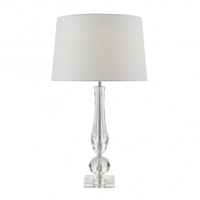 Dar Lighting Macy Single Light Table Lamp With Cut Crystal Base And Ivory Faux Silk Shade