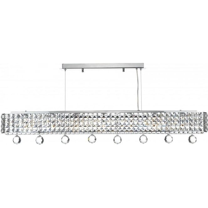Dar Lighting Matrix 6 Light Ceiling Bar in Polished Chrome with Crystal Decoration