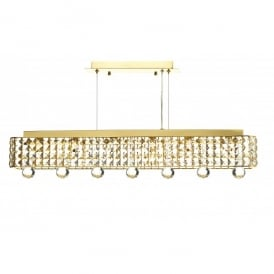 Matrix 6 Light Horizontal Crystal Ceiling Pendant in a Gold Finish