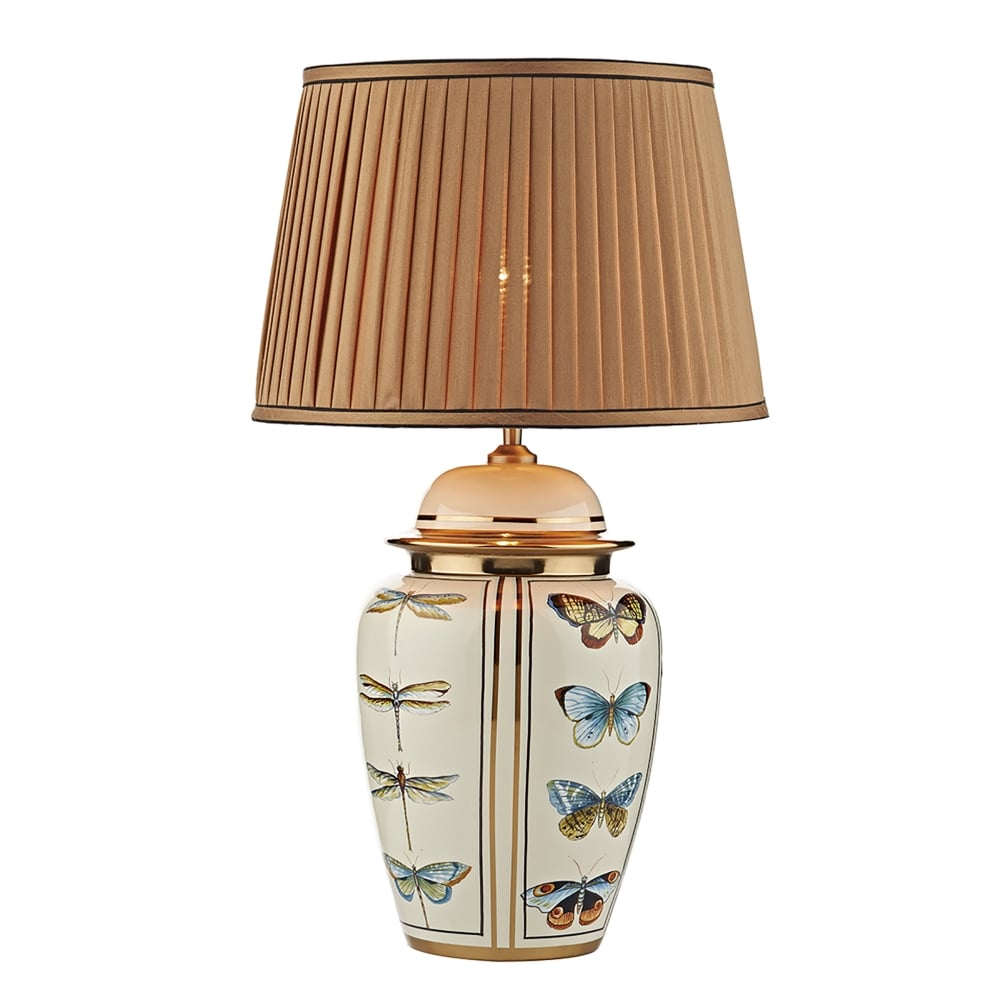 dar lighting mews single light table lamp base only in cream and gold finish with dragonfly. Black Bedroom Furniture Sets. Home Design Ideas