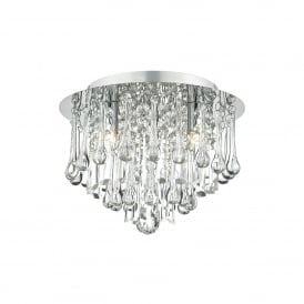 Michaela 3 Light Flush Ceiling Fitting In Polished Chrome And Clear Glass Finish