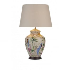 Mimosa Single Light Table Lamp With a Pale Cream Base and Floral Bird Design