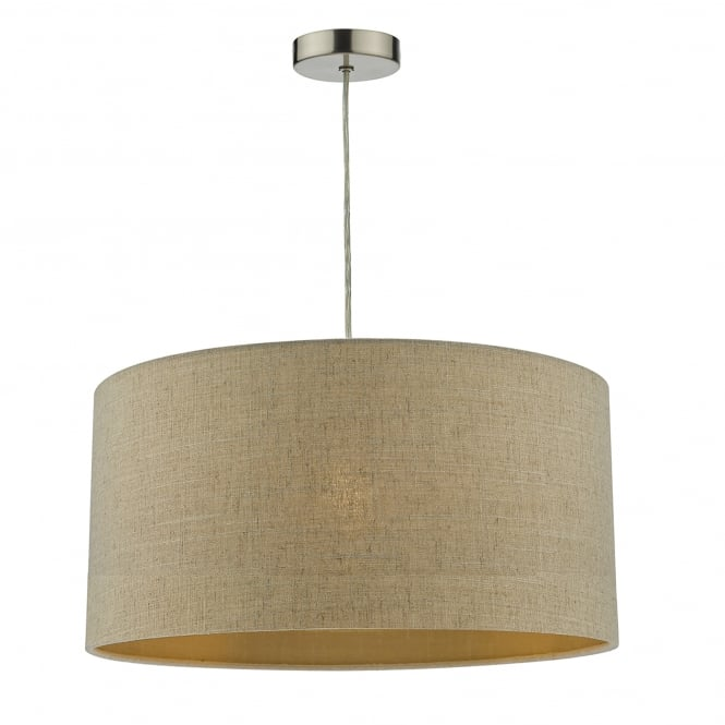 Dar Lighting Myra Easy Fit Double Lined Natural Linen Shade With Gold Shimmer Effect