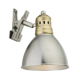NAG4175 Nagoya Clip on Switched Spot Light in a Antique Brass And Antique Chrome Finish
