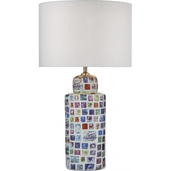 Neapolitan single light table lamp with postage stamp design