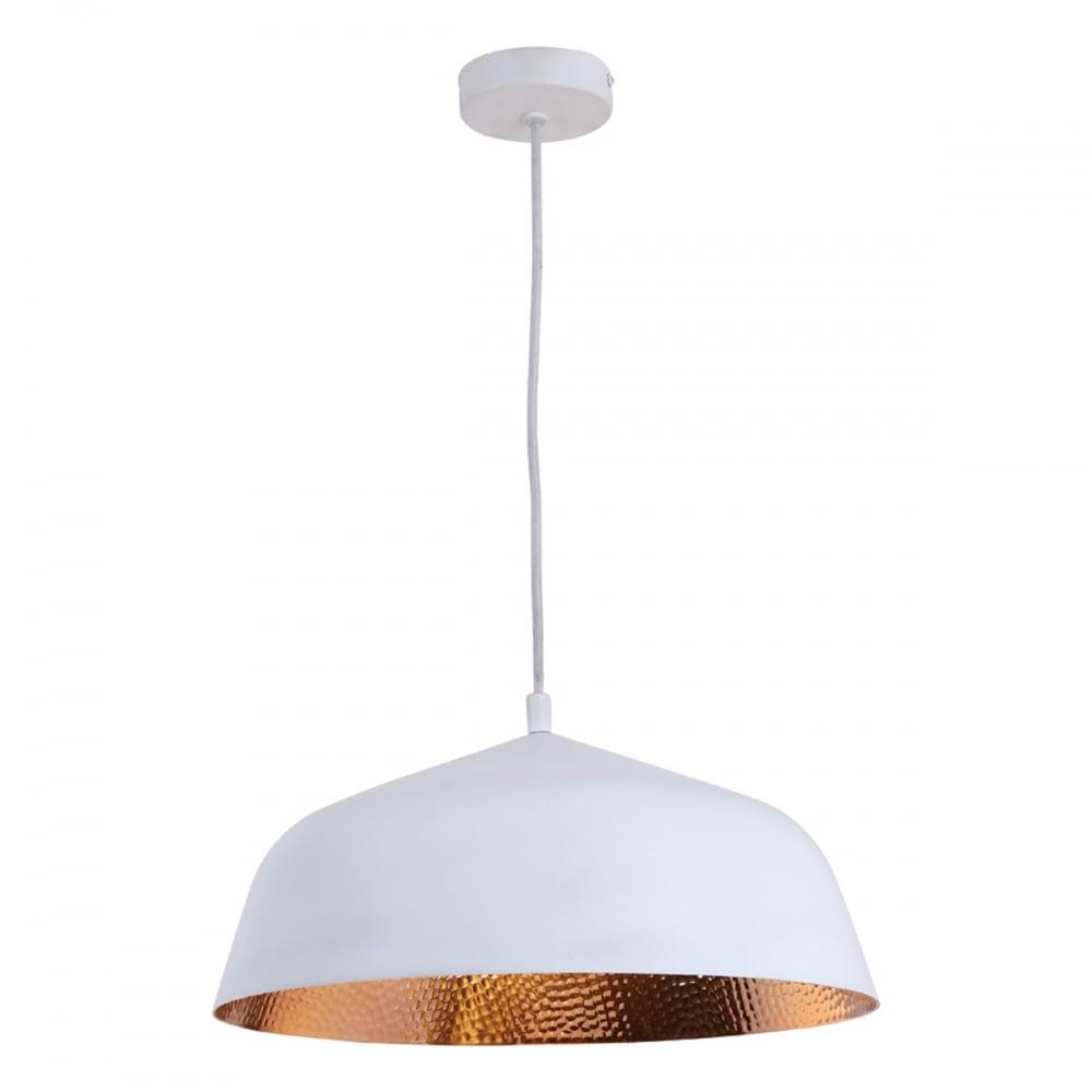 b98d82bfab90 Dar Lighting Neve Single Light Ceiling Pendant in Matte White Finish with  Copper Inner Product Code: NEV012