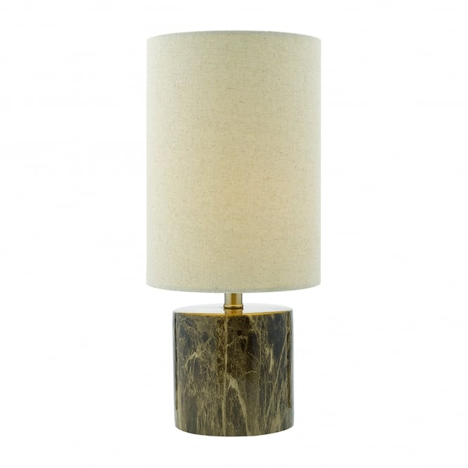Dar Lighting Nougat Single Light Table Lamp With Brown Marble Effect Base And Natural Linen Shade
