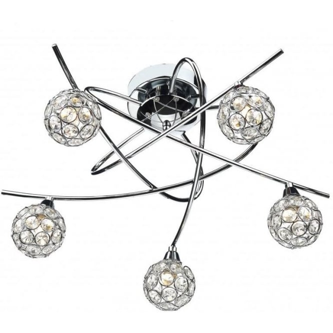 Dar Lighting NUC5450 Nucleus 5 Light Flush Ceiling Fitting in Polished Chrome Finish