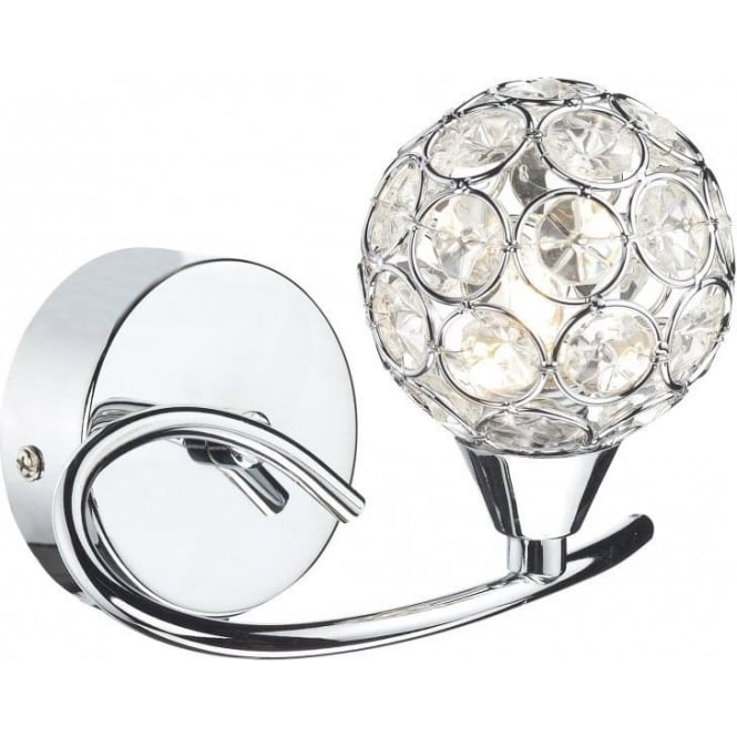 Dar Lighting Nucleus Single Light Switched Polished Chrome Wall Fitting with Glass Shades