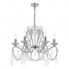 NUL0650 Nulara 6 Light Ceiling Chandelier In Polished Chrome And Crystal Finish