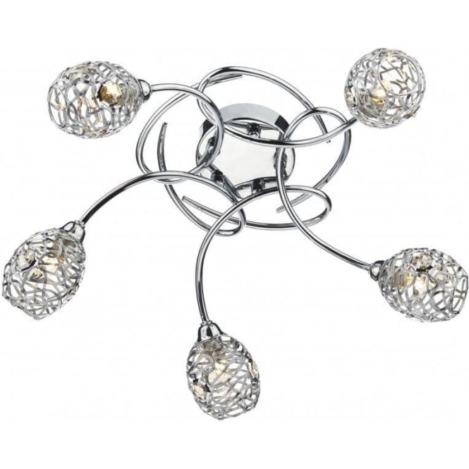 Dar Lighting NUM5450 Numero Large 5 Light Ceiling Fitting in Polished Chrome