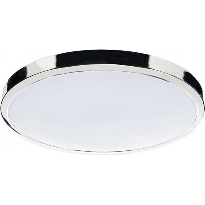 Dar Lighting Oban Single Light Low Energy Large Flush Bathroom Ceiling Fitting In Polished Chrome Finish