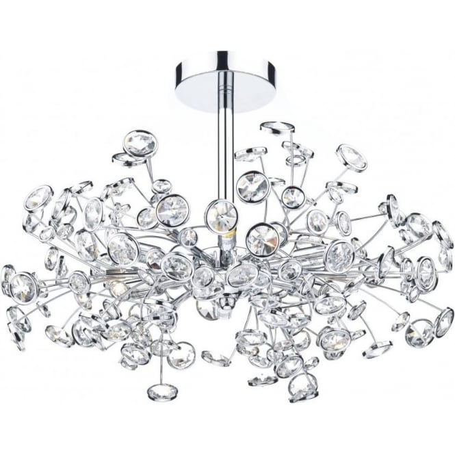 Dar Lighting Oberoi 6 Light Semi-Flush Ceiling Fitting in Polished Chrome with Crystal Detail