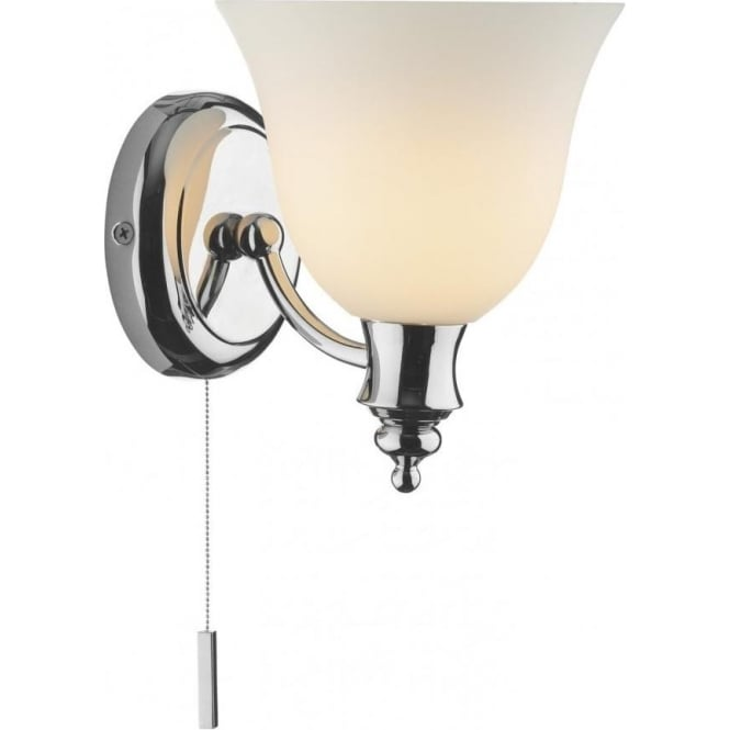 Dar lighting oboe single light switched wall fitting in polished oboe single light switched wall fitting in polished chrome with opal glass shade aloadofball Image collections