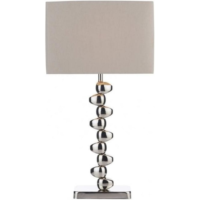 Dar Lighting Offset Single Light Polished Chrome Table Lamp with Taupe Shade