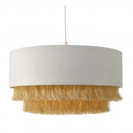 OLG6512 Olgia Easy Fit Pendant Shade In Ivory Finish With 2 Tier Gold Fringe
