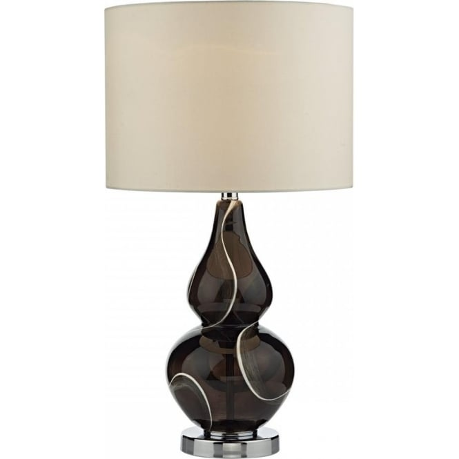 Dar Lighting Olga Single Light Table Lamp With Hand Blown Black Glass Base And Cream Faux Silk Shade