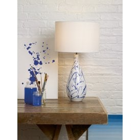 Olka Single Light Ceramic Table Lamp Base In Blue And White Finish