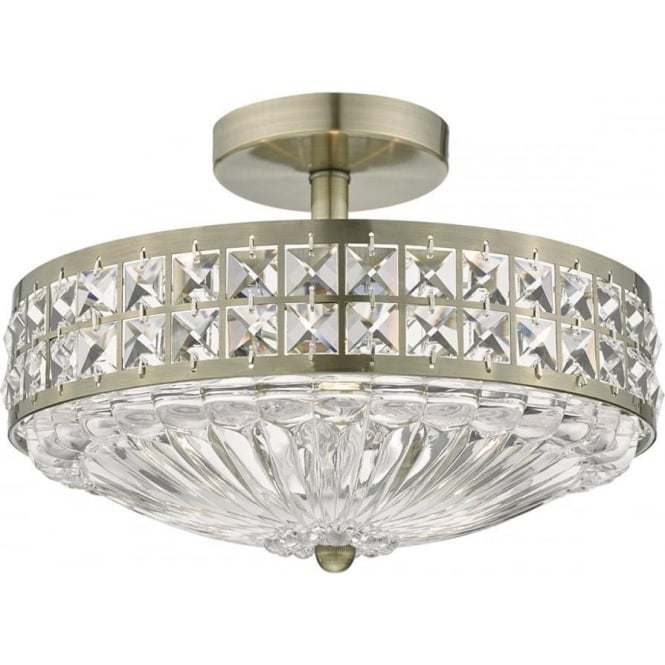 Dar Lighting Olona 3 Light Semi Flush Ceiling Fitting in Antique Brass Finish with Crystal