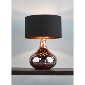 Olton Single Light Table Lamp With Textured Copper Base And Black Cotton Shade
