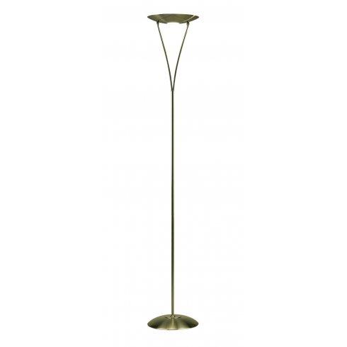 Dar Lighting Opus Single Light Halogen Uplighter Floor Lamp In Antique Brass Finish With Dimmer