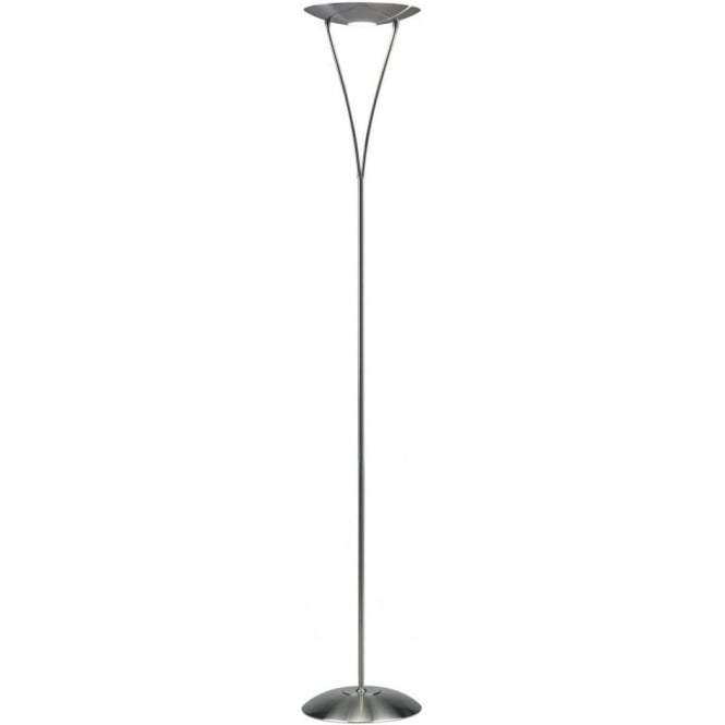 Dar lighting opus single light halogen uplighter floor lamp in opus single light halogen uplighter floor lamp in satin chrome finish with dimmer mozeypictures Gallery