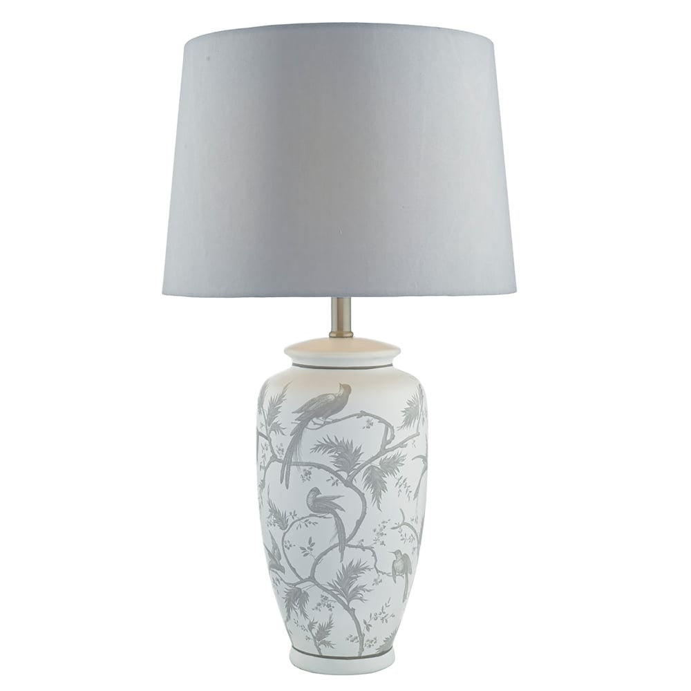 ornate lighting. Ornate Single Light Table Lamp In White And Grey Finish Complete With Faux Silk Shade Lighting