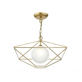 Orsini Single Light Ceiling Pendant In Old Gold Finish With Opal Glass Diffuser