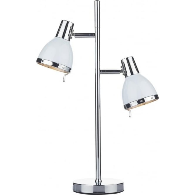 Dar Lighting Osaka 2 Light Table Lamp in White and Polished Chrome