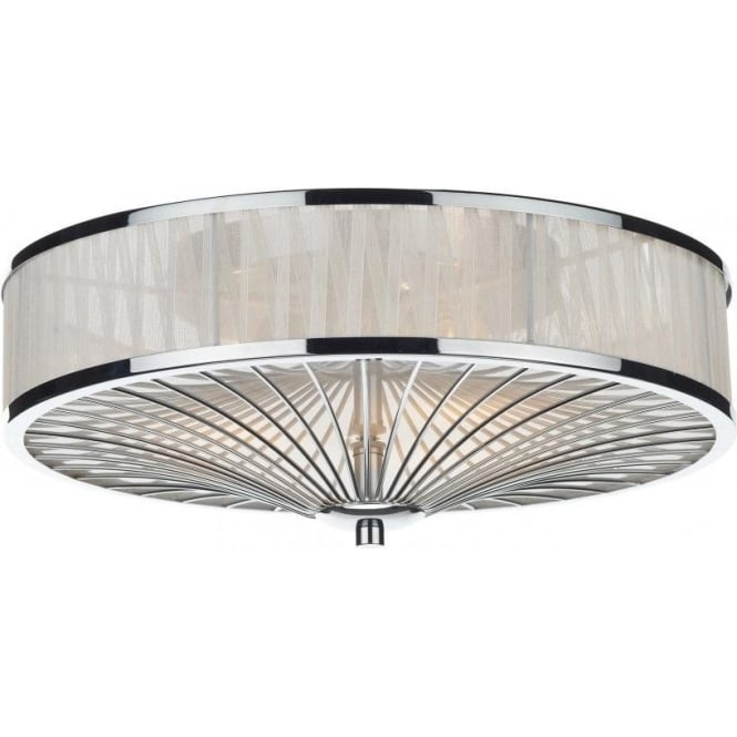 Dar Lighting Oslo 3 Light Flush Ceiling Fitting in Polished Chrome with Ivory Ribbon