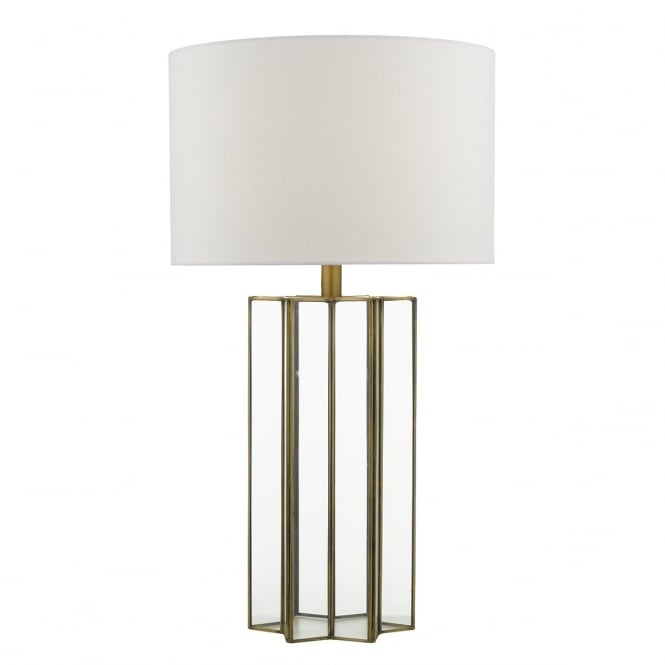 Dar Lighting Osuna Single Light Table Lamp In Natural Metal And Glass Finish With Ivory Linen Shade