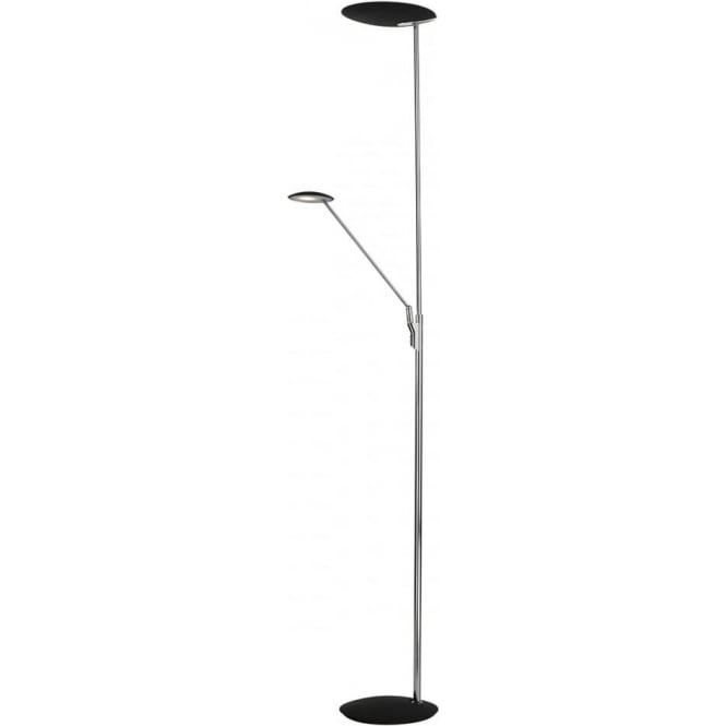 Dar Lighting Oundle 2 LED Light Mother and Child Floor Lamp in Polished Chrome and Black Finish