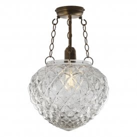 Oziel Single Light Semi Flush Ceiling Fitting In Antique Brass Finish With Clear Glass Shade