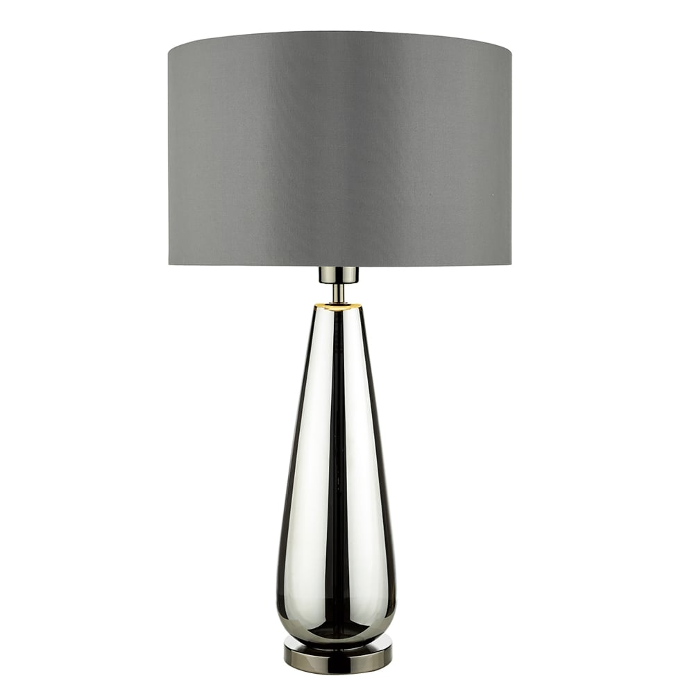 dar lighting pablo single light table lamp with black chrome finish base and grey fabric shade. Black Bedroom Furniture Sets. Home Design Ideas
