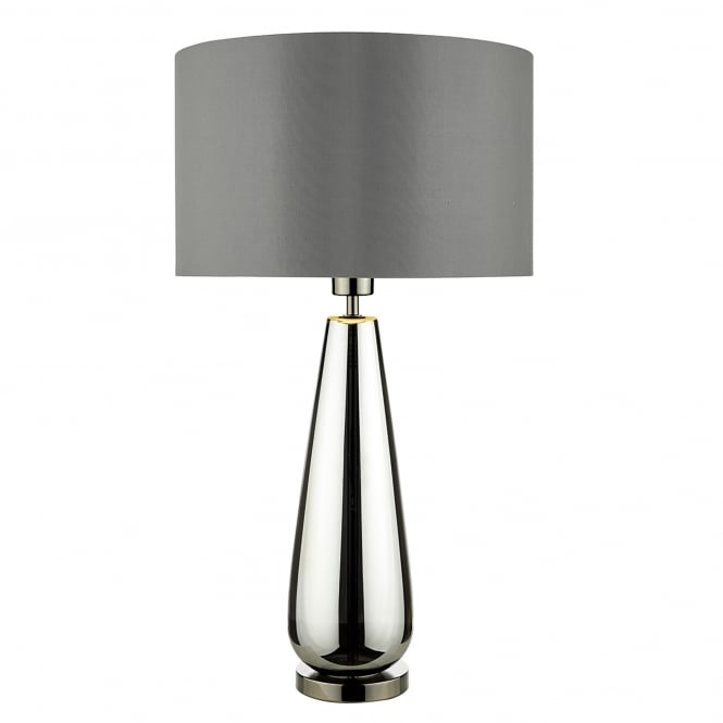 light table lamp with black chrome finish base and grey fabric shade. Black Bedroom Furniture Sets. Home Design Ideas