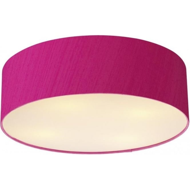 Dar Lighting Paolo 4 Light Low Energy Flush Ceiling Fitting with a Hot Pink Silk Shade