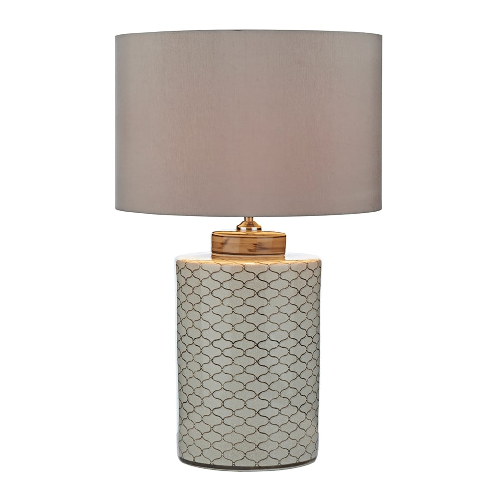dar lighting paxton single light ceramic table lamp base only in cream and brown finish. Black Bedroom Furniture Sets. Home Design Ideas