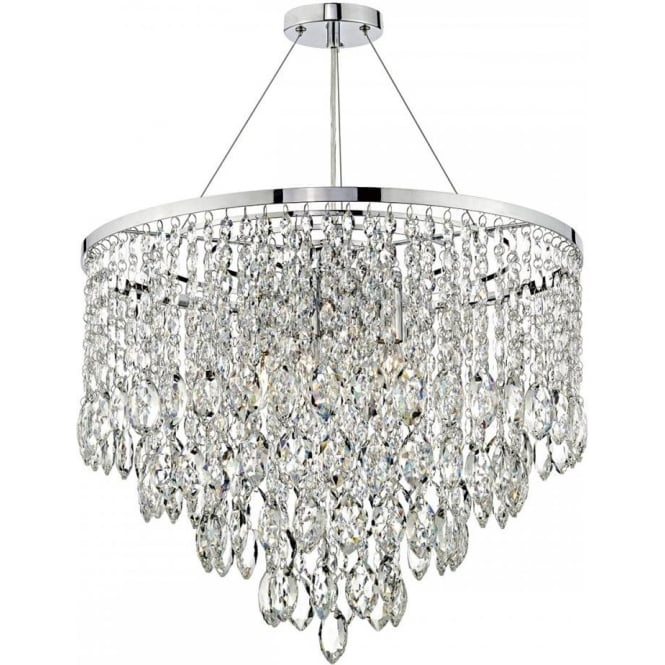 Dar Lighting Pescara 5 Light Ceiling Pendant In Polished Chrome Finish With Crystal Decoration