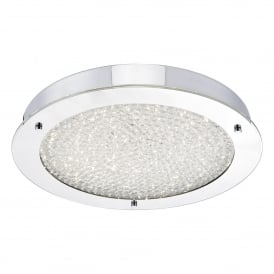 PET5050 Peta Single LED Large Flush Bathroom Ceiling Fitting in Polished Chrome and Crystal Finish