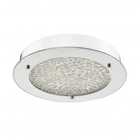 PET5250 Peta Single Light LED Flush Bathroom Ceiling Fitting In Polished Chrome And Crystal Finish