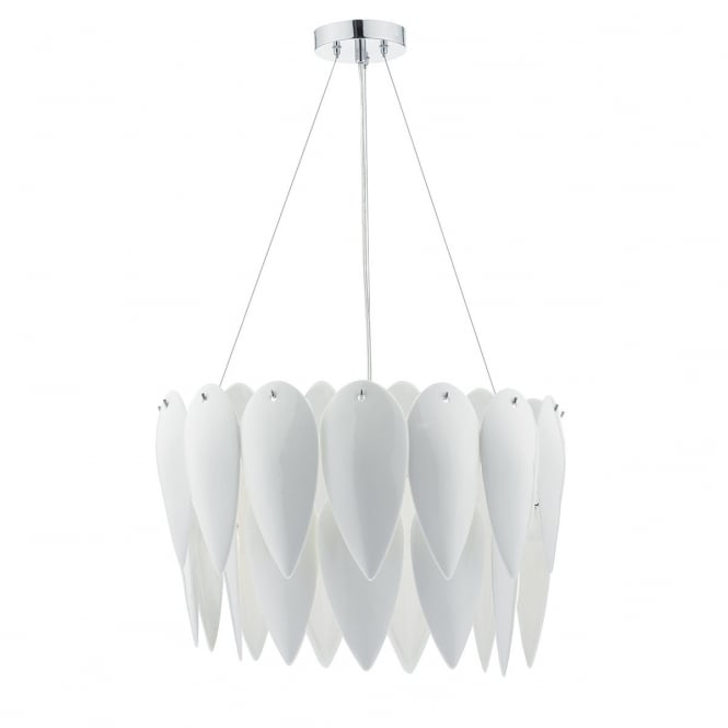 Dar Lighting Phillipa 3 Light Ceiling Pendant In White Ceramic Finish