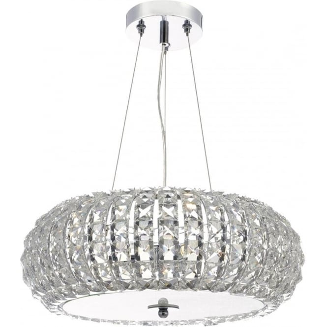 Dar Lighting Piazza 3 Light Ceiling Pendant in Polished Chrome Finish with Crystal Glass