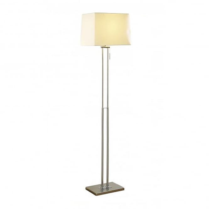 Dar Lighting Picasso Single Light Floor Lamp In Satin Chrome Finish With Cream Shade