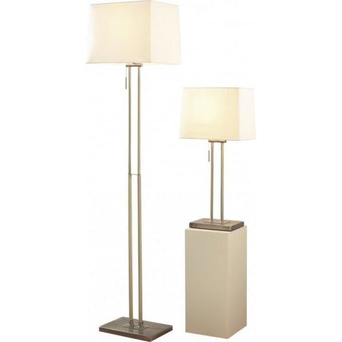 Dar Lighting Picasso Single Light Table & Floor Lamp Twin Pack In Antique Brass Finish With Cream Shade